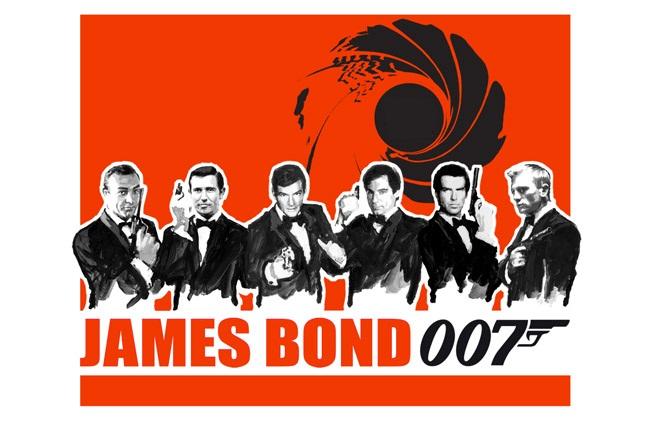 I 5 attori che hanno interpretato James Bond dal 1962 ad oggi: Connery, Lazenbay, Moore, Dalton, Brosnan, David.